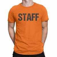 Neon Orange Staff T-Shirt Front & Back Print Mens Event Shirt Tee