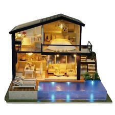 DIY LED Music Dollhouse Miniature Wooden Furniture Kits Doll House Xmas Gift