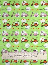 Timeless Treasures Fabric - Pink & Orange Vespa Scooters on Lime Green YARDS