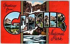 Large Letter Linen  GLACIER NATIONAL PARK, Montana MT  Kropp c1940s Postcard