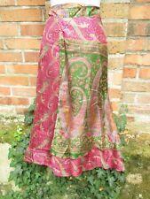 Seidenrock Wenderock Rock Ethno Orient Hippie Gypsy Indien rosa Sari Sommerrock