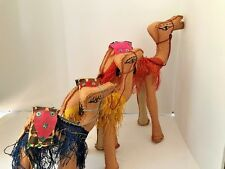 Set of three leather camels for Nativity set or just decoration 3 sizes adorned