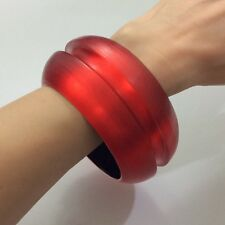 ALEXIS BITTAR CHERRY RED LUCITE WIDE CHANNELED BANGLE