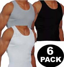 New Mens 6 Pack Vests Pure Cotton Gym Top Summer Training S M L XL 2XL Underwear