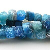 Natürliche Achat Perlen Würfel Matte Blau 8mm Edelsteine Schmuck BEST G877