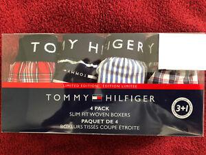 New NIP Tommy Hilfiger Men Woven Boxers Slim Fit 4 Pack Size L
