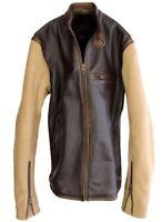 Mens Biker Motorcycle Vintage Distressed Brown Leather Varsity Jacket