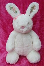 """Next Baby WHITE RABBIT FLORAL EARS & BOW 10"""" Comforter Hug Soft Plush Toy"""