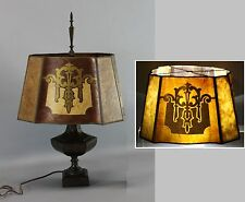 Antique Early 20thC Arts & Crafts 2-Color Mica & Painted Shade Table Lamp, Nr