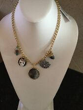 Betsey Johnson Two Tone Cameo Skull and Spider Pendant Necklace Bf4