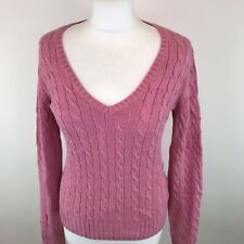 Vtg Tommy Hilfiger Pink Cable Knit Jumper Sz Small / S Womens