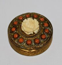 New listing Lovely Antique Brass Carved Rose Coral Stones & Enamel Compact from France