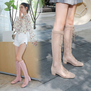 Mesh Boots Summer Shoes Lace up Block Heels Sandals Boots Shoes NEW Low Heels