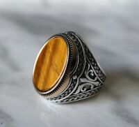 Details about  /925 Sterling Silver Handmade Authentic Turkish Tiger Eye Men/'s Ring Size 12