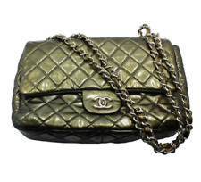 2008 Chanel Classic Jumbo Quilted Patent Leather Rare Olive Green Handbag Purse