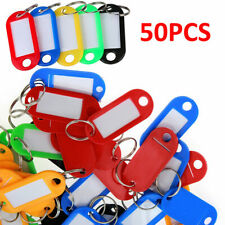 50X Plastic Key Tags Metal Ring Luggage Card Name Label Keychain With Split Ring