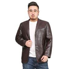 Men's Casual Faux Leather Jacket Long sleeve Blazer Two Button Biker Leisure L