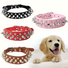 BL_ New Pet Dog Rivet Collar Spiked Studded Strap Faux Leather Buckle Neck Colla