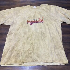 Vintage Disney Pocahontas shirt yellow tie dye 90s large single stitch