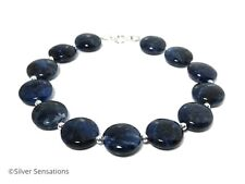 Dark Blue Sodalite Coins Gemstones Unisex Beaded Bracelet With Sterling Silver