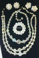 Vintage Aurora Boralis Fashion Jewerly - 2 Necklace - 2 Clip on Earrings - 1 Pin