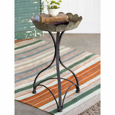 Metal Fluted Garden Stand Small Accent Table Home Decor Rustic Display Tray