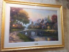 Thomas Kinkade Cobblestone Bridge Canvas Classic (Gold Frame)
