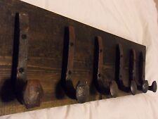 "6 Antique Hooks Old Railroad Spike Art ""Black Ebony"" Vintage Style Coat Rack"