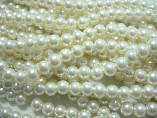 "Ivory color 8mm Glass Pearls beads WOW 30"" strand"