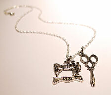 VINTAGE SINGER Sewing Machine & FORBICI Charm necklace-antique ARGENTO GIOIELLI