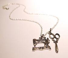 Vintage Machine à coudre Singer & ciseaux charme Antique collier Bijoux en argent
