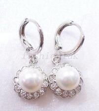 Bianco Oro Placcato Cz + Shell Pearl Natale da sposa bianco fiore Goccia Orecchini a cerchio