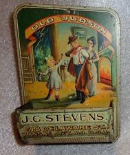 Antique tin litho match holder advertising Old Judson Whiskey
