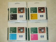 Set of 4 Genuine HP #14  C4920A,C4921A,C4922A,C4923A CYMK Printheads. Great deal