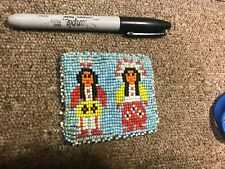 Vintage Native American Indian Style Beaded Leather Coin Purse Snap Closure