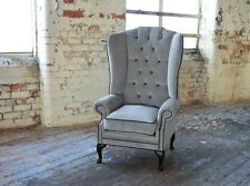 MODERN QUEEN ANNE CHESTERFIELD WING ARM CHAIR EXTRA HIGH BACK SILVER VELVET