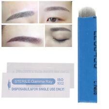 100Pcs Microblading Eyebrow Blades Shading Needles Tattoo Curved 18U Pin NEW