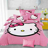 Hello Kitty Cartoon Kids Bedding Sets Duvet Cover Bed Sheet Twin Full Queen Size