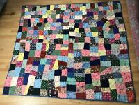 """VTG 40's Cold Rayon Crazy Quilt Hand Tied Embroidered Dressmaker Prints 82 x 76"""""""