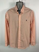 MEN RALPH LAUREN SIZE XL LARGE ORANGE&WHITE CHECK SMART/CASUAL LONG SLEEVE SHIRT