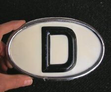 CHROME D-PLATE VINTAGE CAR OLDTIMER BADGE D-SCHILD GHE PEROHAUS NOS