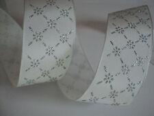 White Silver Flower frozen Wired Ribbon, Bows, Valentines Decorative, Crafts