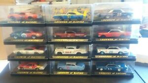 Legends of racing 1/43 scale in plastic cases set of 12 cars, description cards.