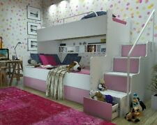 Kinderhochbett inklusive Lattenrost Treppe Schubladen , 9 Farben
