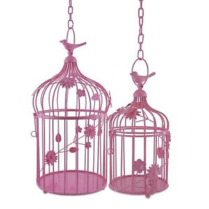 Metal Decorative Bird Cage Hanging Chandelier Tealight Candle Holder Pack of 2