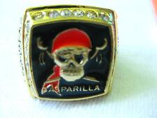 GASPARILLA GOLD TONE CLASS RING SIZE 11 PIRATE SKULL PARADE RED HEAD RHINESTONE
