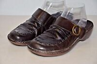 Clarks Women Mules Slip On Slides Shoes Size 7 Brown Leather Uppers