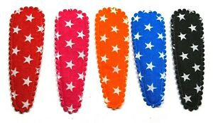 NEW - 36 pcs Cute Star Printed hair clip covers 55 mm mix bright colors