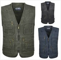 Mens Multi Pocket Waistcoat Vest Denim Outdoor Gilet Jacket Hiking Hunting Fish