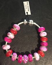 New European Bracelet~Silver~Pink~LOVE~925 stamped beads~Faux Pandora